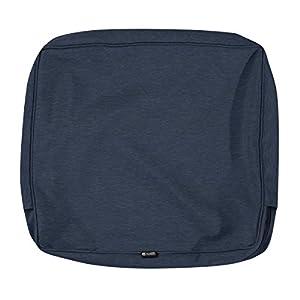 Classic Accessories Montlake Patio Back Cushion Slip Cover, Heather Indigo, 25x22x4