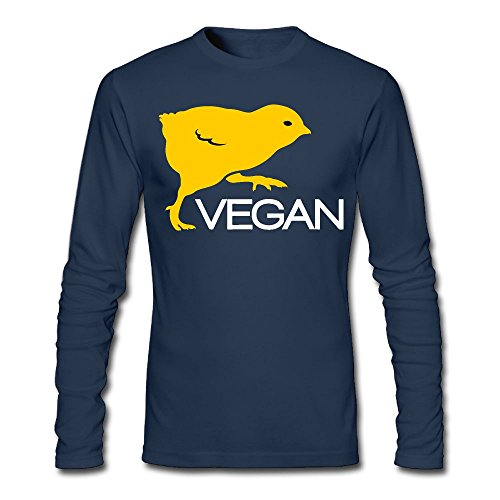 LSNQCPM Men's Vegan-1 Long-Sleeve Cotton T-Shirt (Layer Bi Jacket)