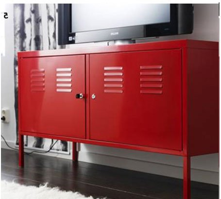 Ikea Red Cabinet Stand Multi-use Lockable ()