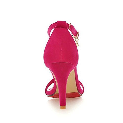 AllhqFashion Womens Buckle Open Toe High Heels Pu Solid Sandals Red P5Ek5x3rd