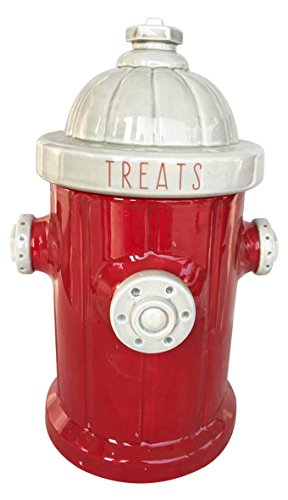 (Blue Sky Ceramic Fire Hydrant Treat Jar, Red)