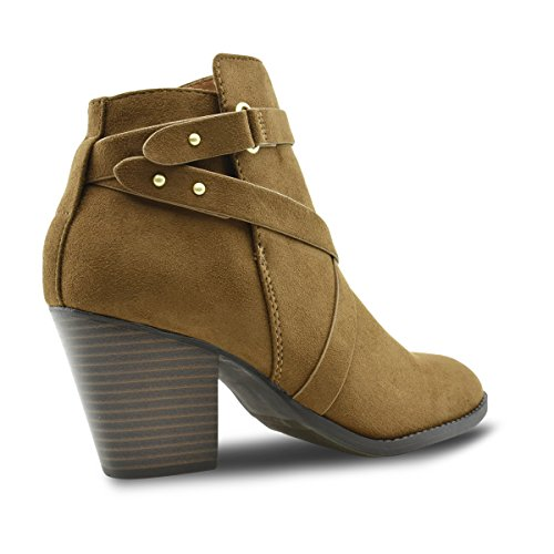 Premier Standard Damen Schnalle Block Block Heel Ankle Booties Premier Kastanie G *