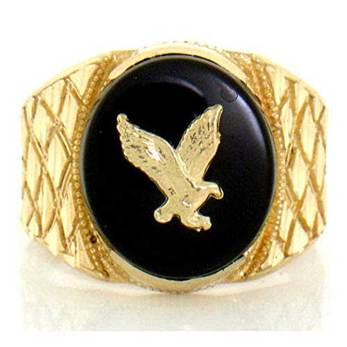 10k Solid Yellow Gold Onyx Eagle Mens Nugget Ring (Style# 1916) - Size -