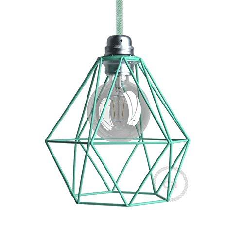 Abat-jour cage Diamond en métal couleur Turquoise culot E27 Creative-Cables