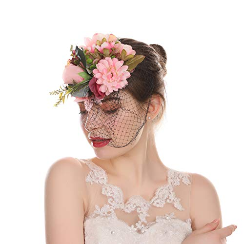 AWAYTR Fascinator Hat Mesh Flower Headwear Girl Feathers Hair Clip Hat on The Top Woman Mesh Derby Church Cap (Light Pink)]()