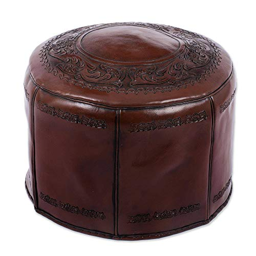 (NOVICA Brown Colonial Style Tooled Leather Ottoman Cover, Spanish Elegance' (Filling not Included))