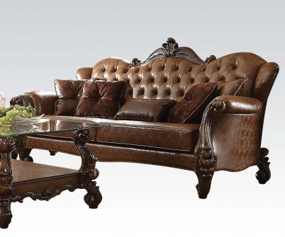 Acme Furniture 52100 Versailles Sofa w/5 Pillows, 2T L-Brown PU & Cherry Oak