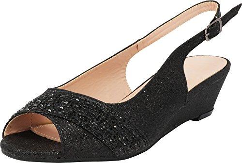 Cambridge Select Women's Peep Toe Glitter Crystal Rhinestone Buckled Slingback Low Wedge Sandal,7.5 B(M) US,Black