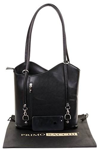 Bag Italian Pack Sacchi® a Black Includes Storage and Large Leather Protective Primo Back Bag Handbag Shoulder Versions Hand Made Large Branded Medium qH5nxzfA
