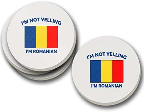 I'M Not Yelling I Am Romanian Romania Sandstone Coasters Round Set of 4 Coasters Only