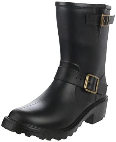 däv Women's Moto Boot, Black/Bronze Buckles, 9 M US (Dv Ankle Boots)