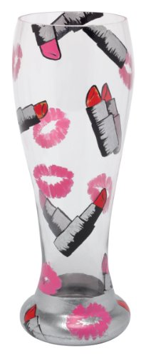 Beer Hand Painted - Lolita Hand Painted Pilsner Glass, Lipstick
