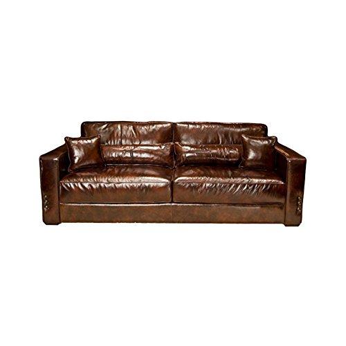 Elements Laguna Top Grain Leather Sofa, Saddle Leather