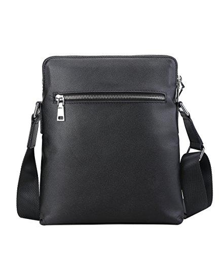 Genda 2Archer Bolso Negro de Cuero del Mensajero del iPad del Bolso de Hombro Para los Hombres (23cm * 4.5cm * 28cm)