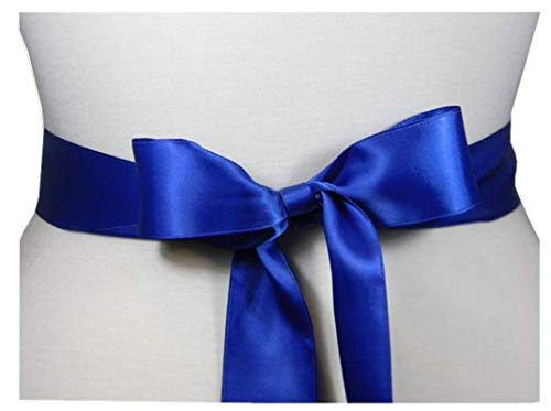 STDRESS Wedding Sash Bridal Belts Simple Classic Silk Ribbon Sash for Dress (Royal Blue)