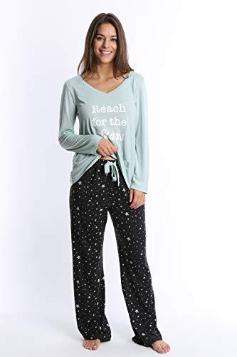 WallFlower Women's Pajama Pant Set - Long Sleeve Sleep Shirt & PJ Lounge Bottoms - Antique Mint W. Night Sky, Small by WallFlower