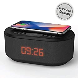 Bedside Radio Alarm Clock with USB Charger, Bluetooth Speaker, QI Wireless Charging, Dual Alarm & Dimmable LED Display (Black)