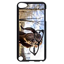 For iPod Touch 5, iPod Touch 5 Case, Custom Design Goat Wearing Glasses Funny Hard PC Plastic Black Case Protective Cover for Apple iPod Touch 5 5th Generation