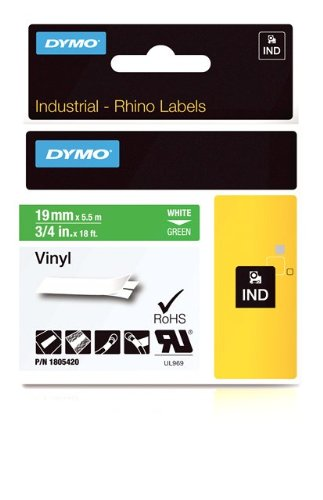 DYMO Rhino Adhesive Vinyl Label Tape, 3/4-inch, 18-foot Cassette, Green (1805420)