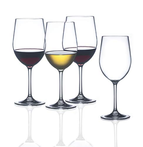 FDCuvée Set of 4 Drama Free Unbreakable Stemmed Wine Glass | 100% Tritan | Dishwasher safe - 12 oz | Odorless | BPA Free | Not Glass Material | Indoor/Outdoor | Parties & Camping