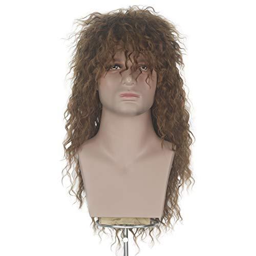 Miss U Hair Men 70s 80s Themed Party Halloween Costume Cosplay Wig Long Black Curly Hair Punk Heavy Metal Rocker Wig (Brown) -