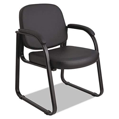 Alera ALERL43C16 Genaro Series Sled Base Guest Chair, Black Vinyl by Alera
