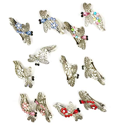 12 Pieces Dragonfly Crystal Hair Barrette with Silver Metal Clip 5 Different Crystal Color