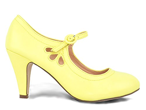 Chase & Chloe Kimmy-21 Dames Ronde Neus Doorstoken Mid-hiel Mary Jane Style Dress Pumps Lemon Pu