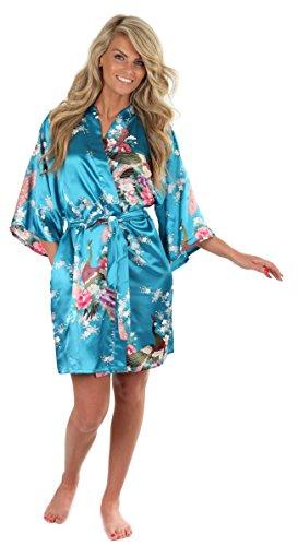 VEAMI Women's Kimono Robe, Peacock Design-Velvet-X-Large/XX-Large, Short