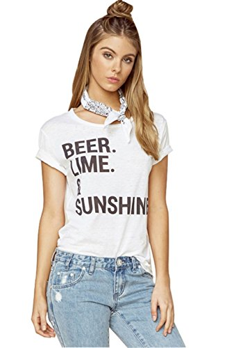 American Street Style BEER LIME Sunshine Graphic T-Shirt Tee Top White S