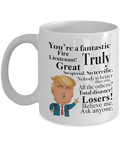 Donald Trump Coffee Mug - 11 Oz Tea Cup Gift Ideas for Fire Lieutenant Birthday Christmas President Conservative Republican (Having A Girlfriend While In The Military)