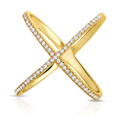 Three Ring Czs Pink - Unique Royal Jewelry 925 Sterling Silver Crisscross X Ring Micro Pave Cubic Zirconia Yellow Gold Finish Long Ring (Size 9)