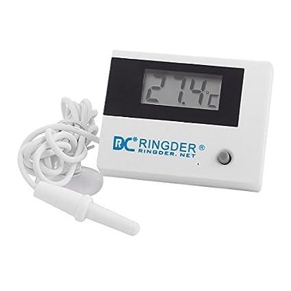 eDealMax mini portátil de -50 a 70 centígrados Pantalla digital LCD Termómetro Blanca
