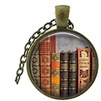 Library Book Necklace, Librarian Pendant, Bibliophile, Classic Literature, Book Quote, Literary, Literacy, Gift Idea, Book Lovers, Read