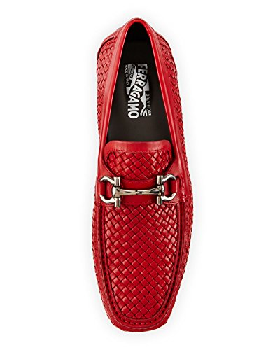 Salvatore Ferragamo Mens Parigi Braided Leather Driver, Red (rosso)
