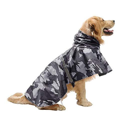 Mikayoo Large Dog Camouflage Raincoat Ajustable Pet Waterproof Clothes Lightweight Rain Jacket Poncho Hoodies with Strip Reflective(Gray XL)