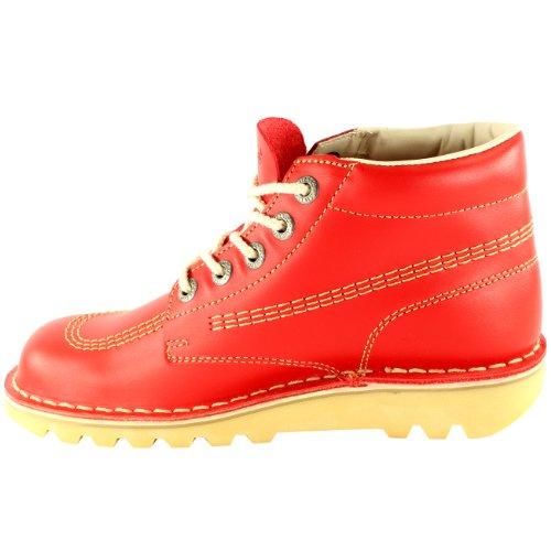 Enfants Unisexe Nourrissons Kickers Coup De Pied Salut À Lécole En Cuir Bottes Chaussures Rouge