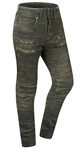 ALMAS APPAREL mens skinny Distressed Stretch Biker ripped motto zipper jeans (32, DK-CAMO-4272)