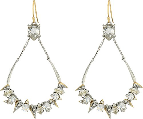 Alexis Bittar Gold Ring (Alexis Bittar Women's Crystal Encrusted Mosaic Futuristic Tear Earrings Rhodium W/ 10k Gold One Size)