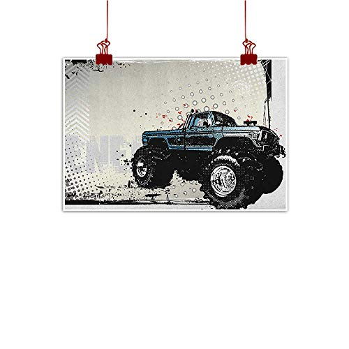 - Wall Art Painting Print Truck,Halftone Pattern Background with Color Splashed Frame and Monster Truck Motif, Ivory Blue Black 24
