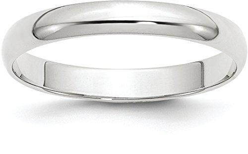 10k White Gold 3mm Half Round Plain Classic Wedding Band – Size 7