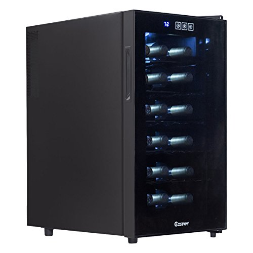 Costway Thermoelectric Wine Cooler Freestanding Cellar Chiller Refrigerator Quiet Compact w/ Touch Control (18 Bottle) by COSTWAY