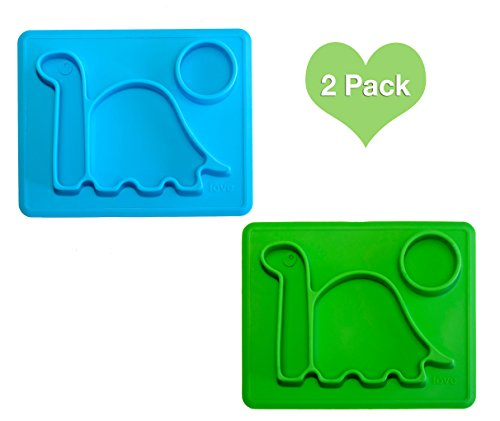 Dinosaur Kids Plates Mini PBA Free Microwave Safe Divided Dino Plate. Great for Baby Food, Toddlers Learning to eat. Fits Most Highchairs, Small for Easy Travel. by Lilly's Love (Blue - Chair Lilly