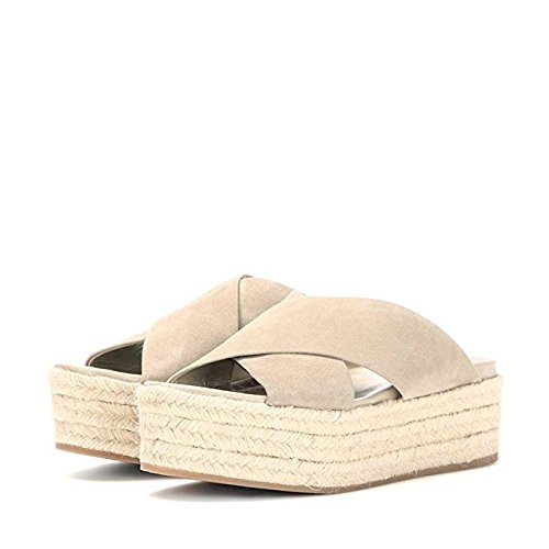 FSJ Women Cross Strapy Sandals Espadrille Platform Slippers Mid Heels Comfy Shoes Size FSJ Women Cross Strapy Sandals Espadrille Platform Slippers Mid Heels Comfy Shoes Size 8 Beige