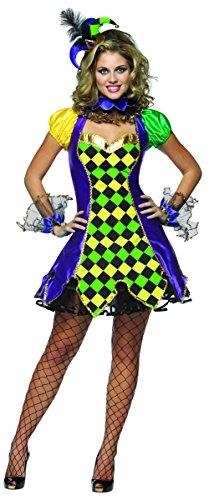 Mardi Gras Queen Adult Costumes (Rasta Imposta Mardi Gras Jester, Multi, Adult 10-14)