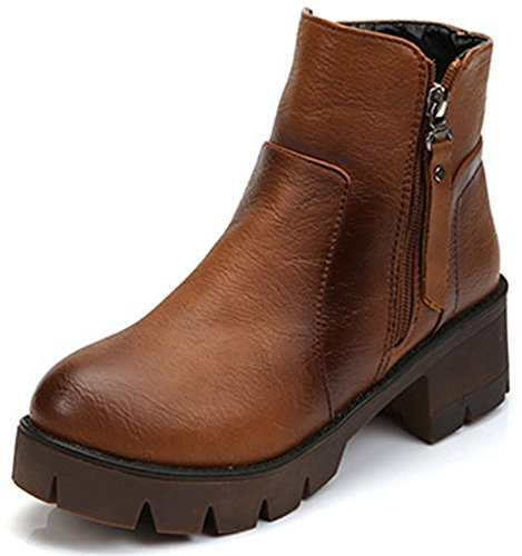 IDIFU Womens Retro Platform Side Zip Up Biker Ankle Boots With Heels Brown