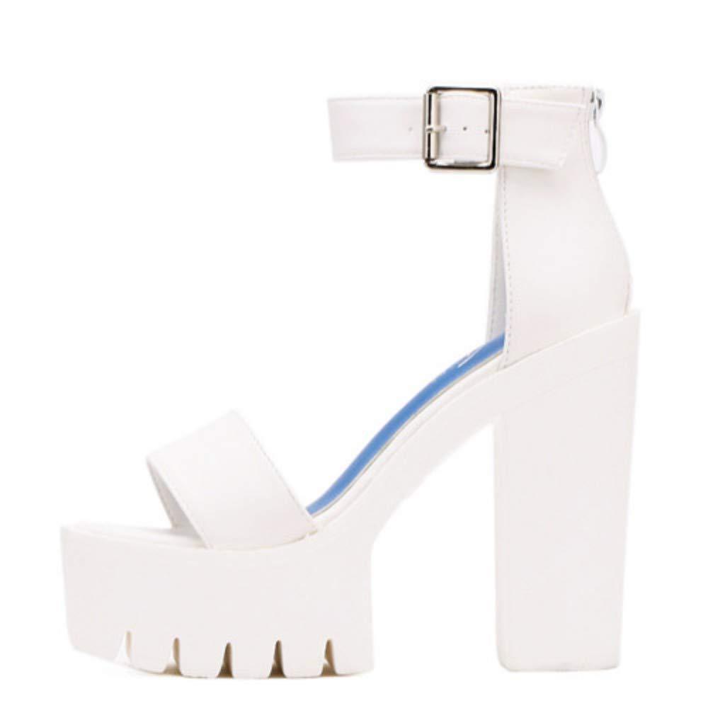 color B JQfashion White Summer Sandal shoes for Women Arrival Thick Heels Sandals Platform Casual shoes