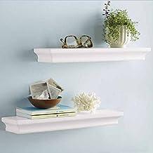 LightStan Wall Shelf Set White Finish Of 2 pcs