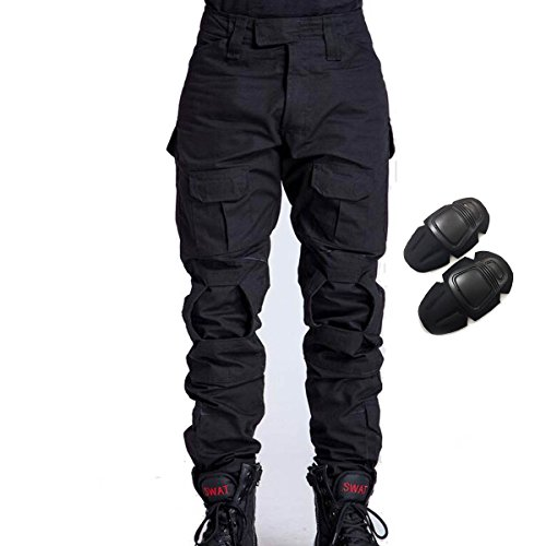 H World Shopping Military Army Tactical Airsoft Paintball Shooting Pants Combat Men Pants with Knee Pads (Black, S)