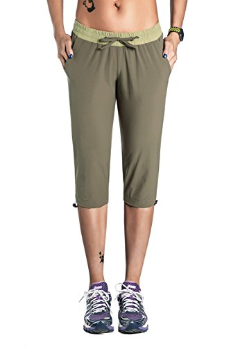 Unitop Womens Capri Pants Soft Quick Dry Hiking Pants Green-3 L - Dry Capri